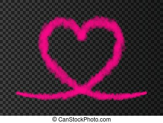 cor-de-rosa, coração, rastro, isolado, experiência., avião,...