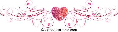 cor-de-rosa, coração, redemoinhos, floral, valentine