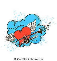 cor-de-rosa, coração, retro, fundo, musical