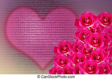 cor-de-rosa, coração, romanticos, rosa, cor, valentine, fundo, luz, doce, grupo