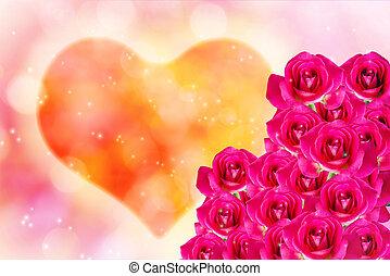 cor-de-rosa, coração, romanticos, rosa, valentine, fundo, luz, grupo