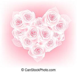 cor-de-rosa, coração, rosas