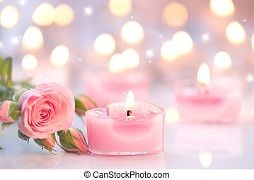 cor-de-rosa, coração, valentine, velas, dado forma, day., rosa, flores