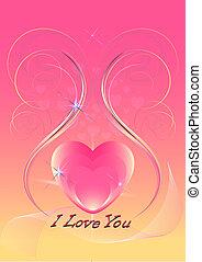 cor-de-rosa, corações, decorado, iridesce