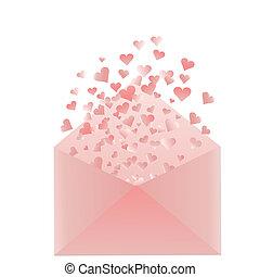 cor-de-rosa, corações, envelope