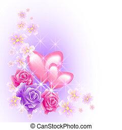 cor-de-rosa, corações, flores