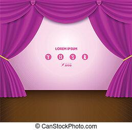 cor-de-rosa, cortina