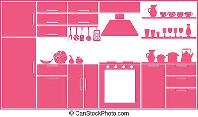 cor-de-rosa, cozinha, silueta