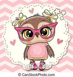 cor-de-rosa, cute, óculos, coruja