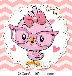 cor-de-rosa, cute, óculos, pássaro