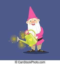 cor-de-rosa, cute, anão, aguando, ilustração, ficar, vetorial, lata, segurando, jardineiro, roupas