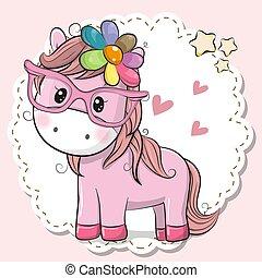 cor-de-rosa, cute, cavalo, óculos, menina
