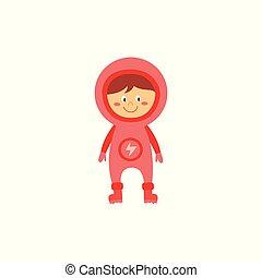 cor-de-rosa, cute, cheio, explorador, espaço, ciência, personagem, traje, uniforme, ficar, astronauta, sorrindo, astronomia, menina, caricatura, criança