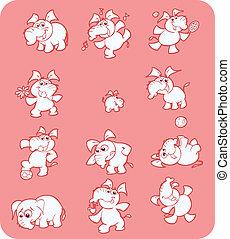 cor-de-rosa, cute, cobrança, elefantes