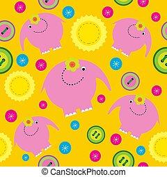 cor-de-rosa, cute, elefantes, abstratos, ornamento, seamless, botões