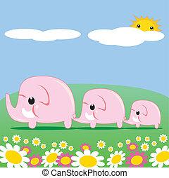 cor-de-rosa, cute, elefantes