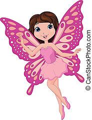 cor-de-rosa, cute, fada, caricatura