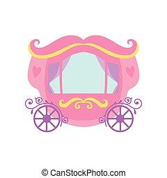 cor-de-rosa, cute, fairytale, ilustração, princesa, carruagem, vetorial, caricatura
