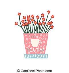 cor-de-rosa, cute, flores, natural, ilustração, elemento, decoração, crescendo, vetorial, desenho, interior, lar, pote, vermelho