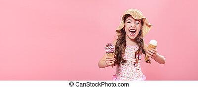cor-de-rosa, cute, pequeno, gelo, fundo, menina, creme