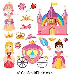 cor-de-rosa, cute, pequeno, jogo, fairytale, carruagem, caricatura, coroa, vetorial, menina, tiara, princesa, castelo