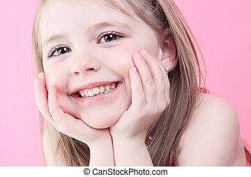 cor-de-rosa, cute, pequeno, moda, boneca, fundo, menina