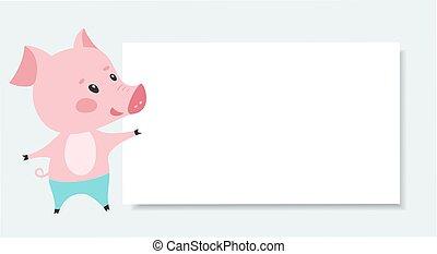 cor-de-rosa, cute, porca, vetorial, em branco, board.