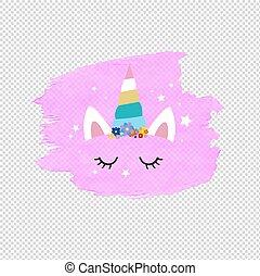 cor-de-rosa, cute, rosto, blob, fundo, unicórnio, transparente