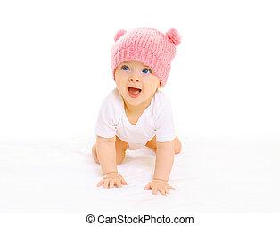 cor-de-rosa, cute, tricotado, fundo, bebê, sorrindo, chapéu, branca, anda de gatas, feliz