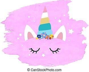cor-de-rosa, cute, unicórnio, blob, rosto