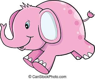 cor-de-rosa, cute, vetorial, elefante