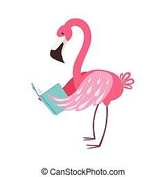 cor-de-rosa, desgastar, flamingo, animais, biblioteca, personagem, ilustração, jardim zoológico, livro, bookworm, cobrança, parte, leitura, sorrindo, caricatura, óculos