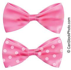 cor-de-rosa, deslumbrante, fita, arco