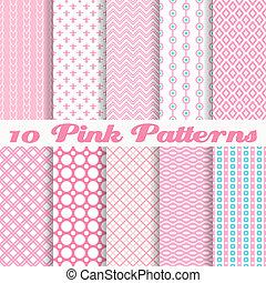cor-de-rosa, diferente, vetorial, seamless, padrões