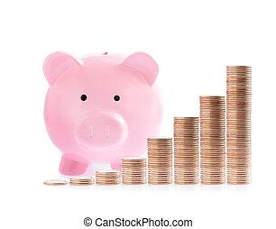 cor-de-rosa, dinheiro, moedas, piggy, pilhas, banco