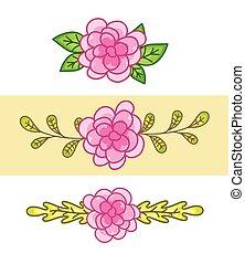 cor-de-rosa, divisores, flores