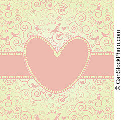 cor-de-rosa, doce, dia, cartão, valentine