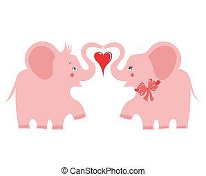 cor-de-rosa, dois elefantes