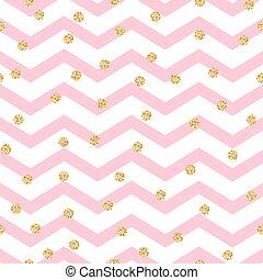 cor-de-rosa, dourado, dots., padrão, polca, seamless, ziguezague, vislumbre, chevron, branca