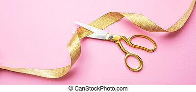 cor-de-rosa, dourado, fita, opening., ouro, corte, fundo, grandioso, tesouras, bandeira
