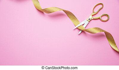 cor-de-rosa, dourado, fita, opening., ouro, topo, espaço, corte, fundo, grandioso, tesouras, vista., cópia