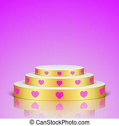 cor-de-rosa, dourado, hearts., romanticos, cena