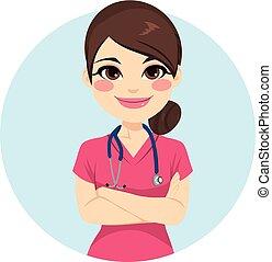 cor-de-rosa, enfermeira, uniforme