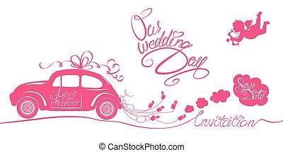 cor-de-rosa, engraçado, arrastar, anjo, car, -, dia, calligraphic, textos, invitation., retro, casório, nosso, latas, salvar, data, cartão