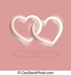 cor-de-rosa, entrelaçado, tridimensional, valentine, volume., dois, day., experiência., vetorial, corações, óptico, 3d, ilusão, illustration.