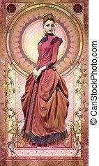 cor-de-rosa, epoque, vestido, belle, cg, 3d