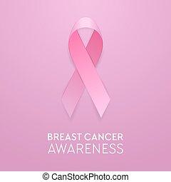 cor-de-rosa, eps10, bandeira, câncer, ilustração, cartaz, símbolo., fita, convite, realístico, vetorial, closeup, peito, modelo, desenho, estoque, etc., consciência, fundo