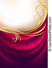 cor-de-rosa, eps10, tecido, ornamento, fundo, cortina