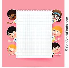 cor-de-rosa, escola, cópia, eps10, estudante, espaço, conceito, sobre, costas, ilustração, uniforme, atrás de, papel, vetorial, crianças, fundo, em branco, grupo, educação, caricatura, feliz