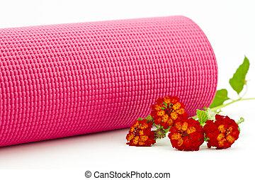 cor-de-rosa, esteira yoga, com, coloridos, lantana, flores